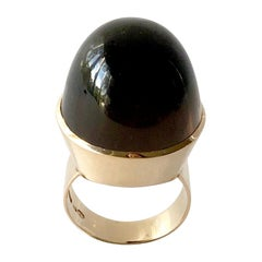 1974 Kaunis Koru 14K Gold Smoky Quartz High Dome Cabochon Finnish Modernist Ring