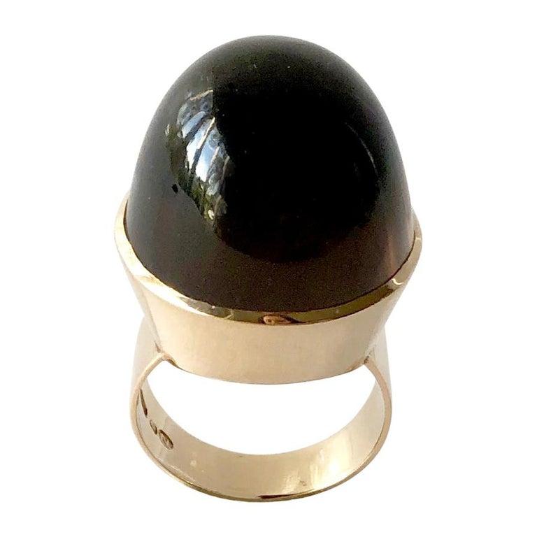 1974 Kaunis Koru 14K Gold Smoky Quartz High Dome Cabochon Finnish Modernist Ring For Sale