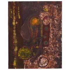1974 Mixed-Media Acrylic and Raffia Abstract on Canvas Signed Rohan