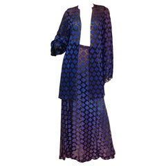 1974 Purple and Blue Sheer Satin Ombre Clover Kimono Jacket and Skirt Ensemble
