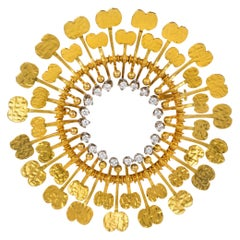 "1974 Rare Tapio Wirkkala Diamond and Gold ""Sunflower"" Brooch"