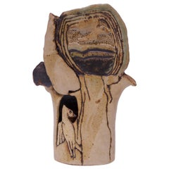"1974 Studio Stoneware ""Bird in Tree"" Sculpture Signed Pollack"