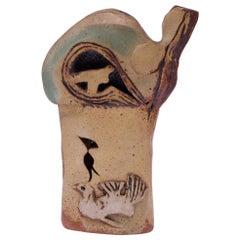 """1974 Studio Stoneware """"Birds"""" Sculpture Signed Pollack"""