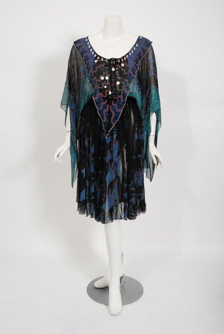 Black Vintage 1974 Zandra Rhodes Field Of Lilies Hand-Painted Silk Angel Sleeve Dress For Sale