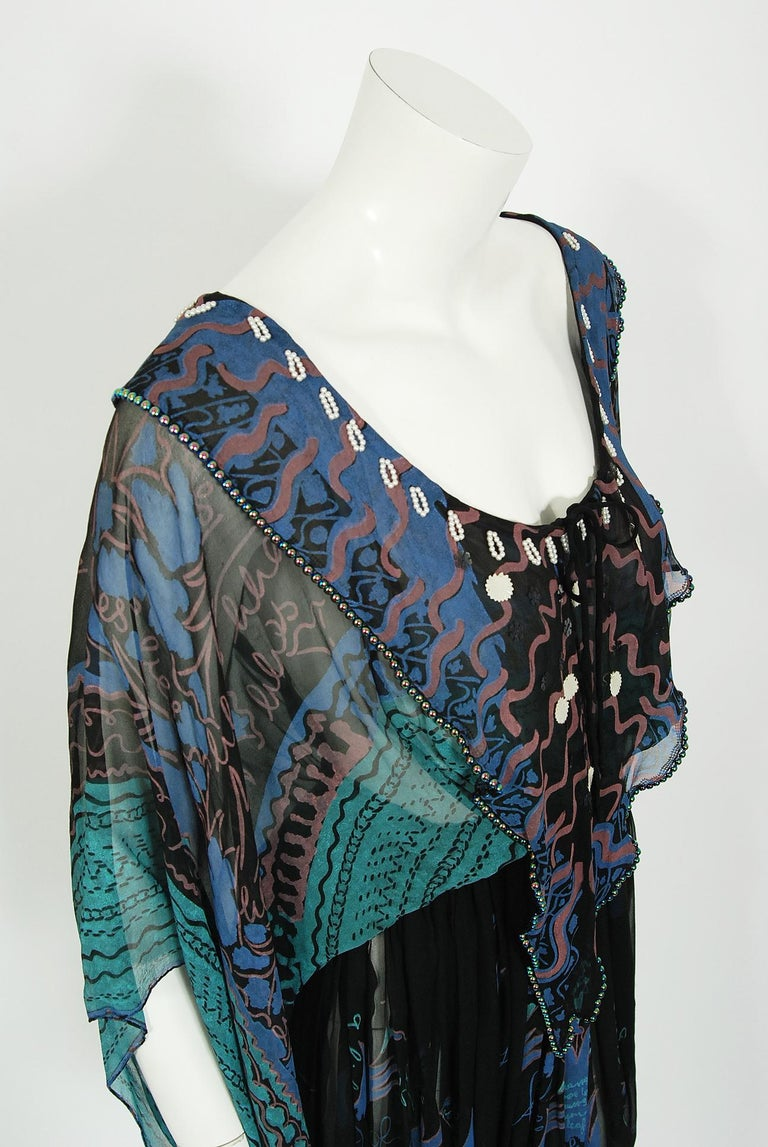 Women's Vintage 1974 Zandra Rhodes Field Of Lilies Hand-Painted Silk Angel Sleeve Dress For Sale