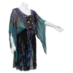 1974 Zandra Rhodes Field Of Lilies Beaded Hand-Painted Silk Angel Sleeve Dress