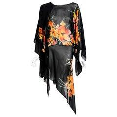 1975 Alice Pollock Black Floral Chiffon Kimono-Sleeve Asymmetric Tunic Dress