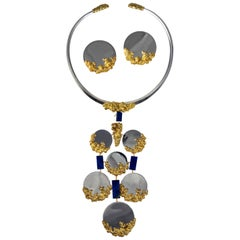 1975 Chaumet Lapis and Mirror-Finish White Gold Necklace/Earrings Set