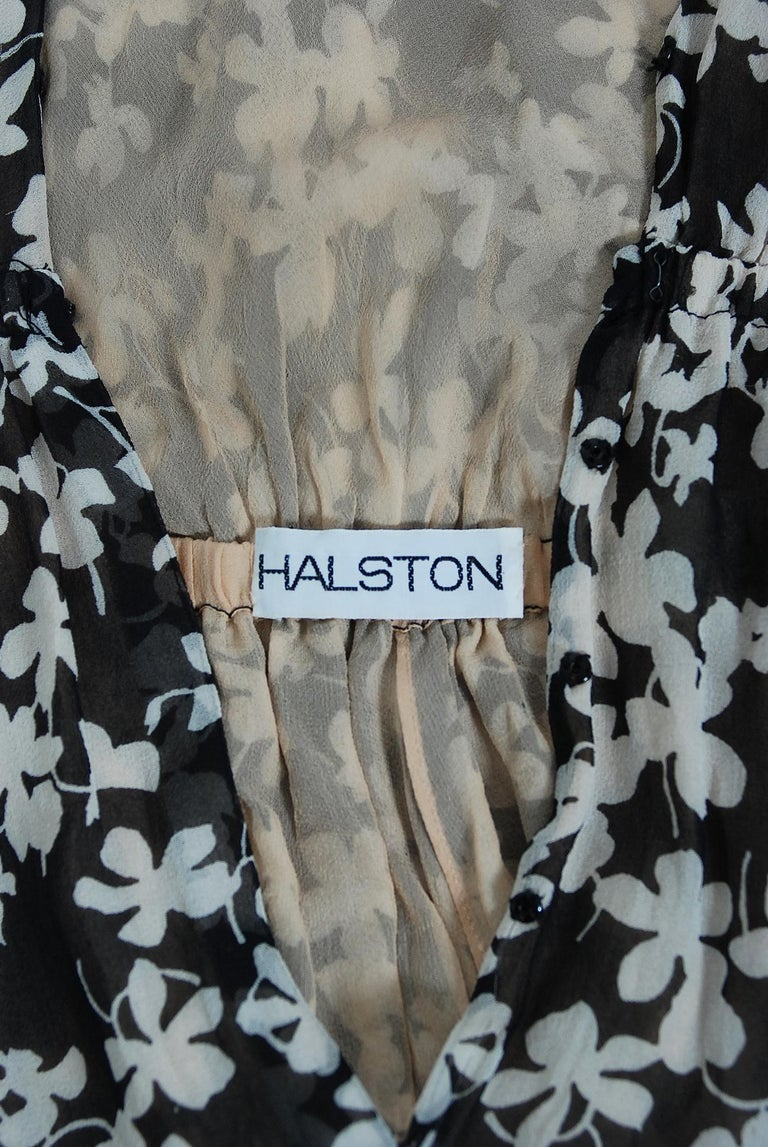 1975 Halston Couture Black & Ivory Clover Print Silk Bell-Sleeve Belted Jumpsuit For Sale 7