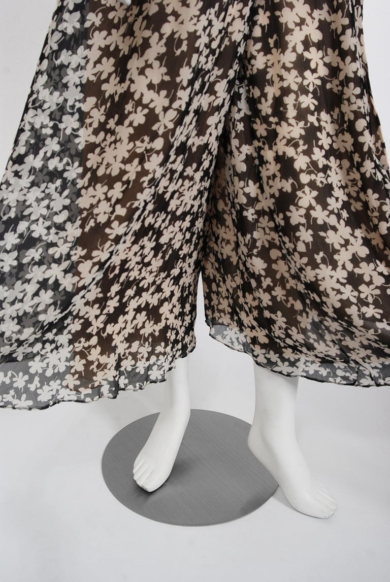 1975 Halston Couture Black & Ivory Clover Print Silk Bell-Sleeve Belted Jumpsuit For Sale 5