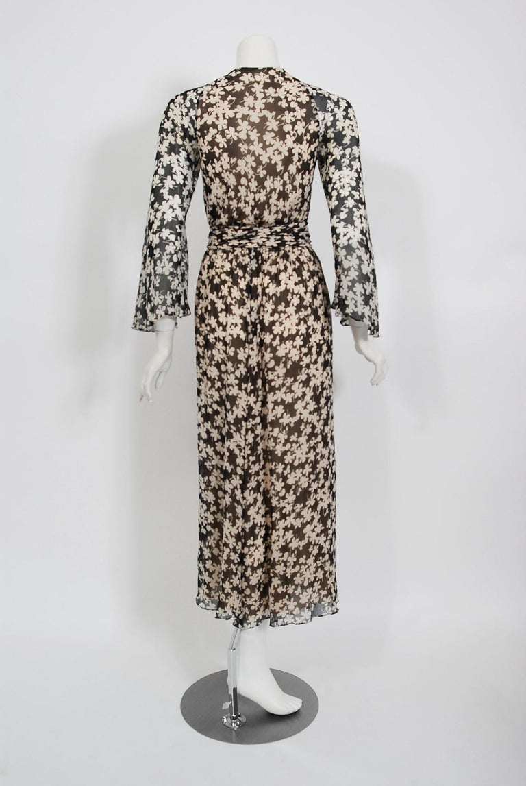 1975 Halston Couture Black & Ivory Clover Print Silk Bell-Sleeve Belted Jumpsuit For Sale 6
