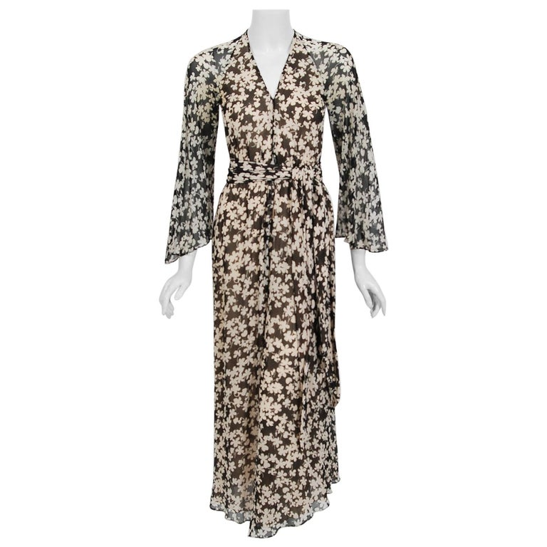1975 Halston Couture Black & Ivory Clover Print Silk Bell-Sleeve Belted Jumpsuit For Sale