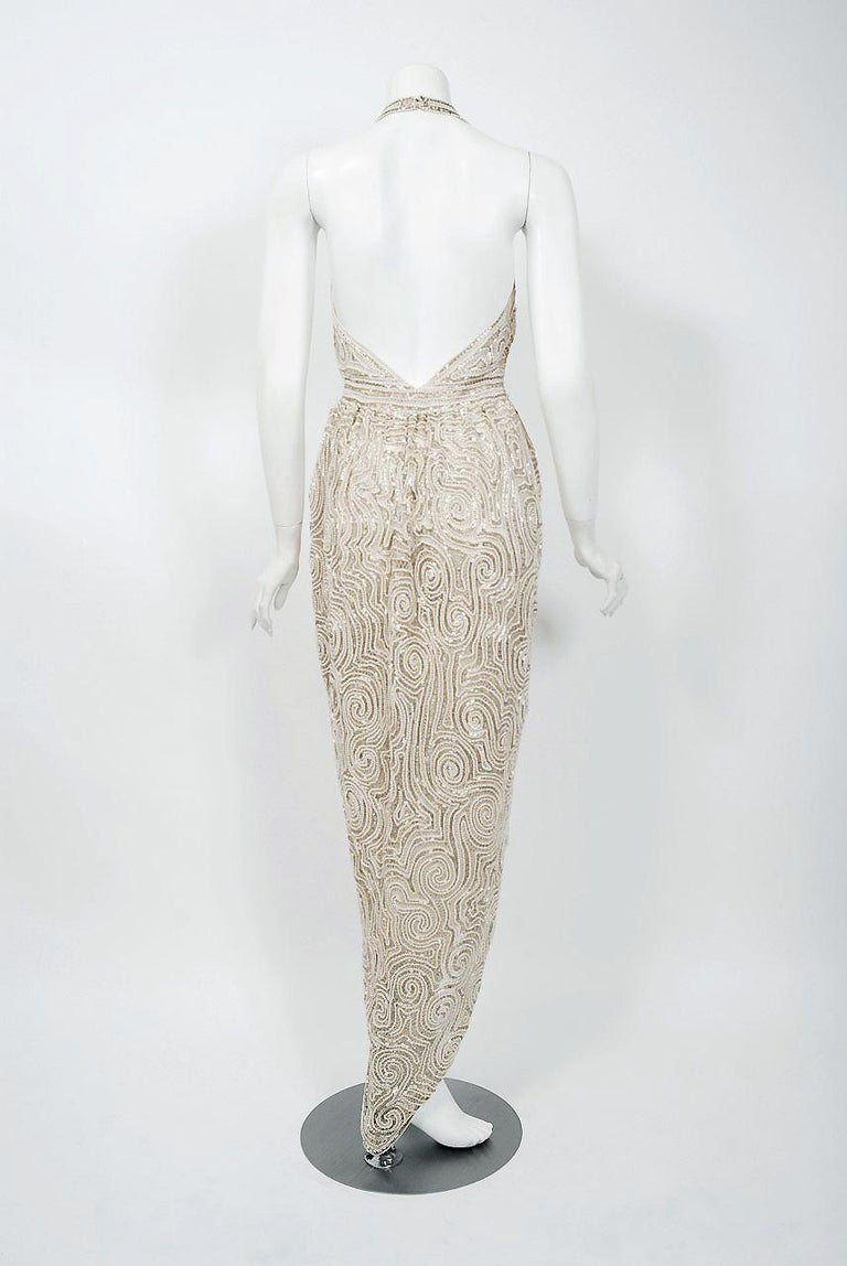1975 Halston Couture Ivory Pearl Beaded Swirl Silk Halter Backless Wrap Gown For Sale 5