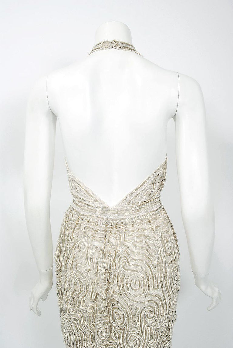 1975 Halston Couture Ivory Pearl Beaded Swirl Silk Halter Backless Wrap Gown For Sale 6