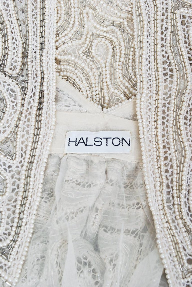 1975 Halston Couture Ivory Pearl Beaded Swirl Silk Halter Backless Wrap Gown For Sale 7