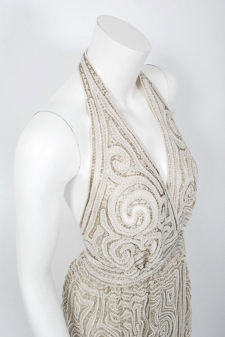 1975 Halston Couture Ivory Pearl Beaded Swirl Silk Halter Backless Wrap Gown For Sale 1