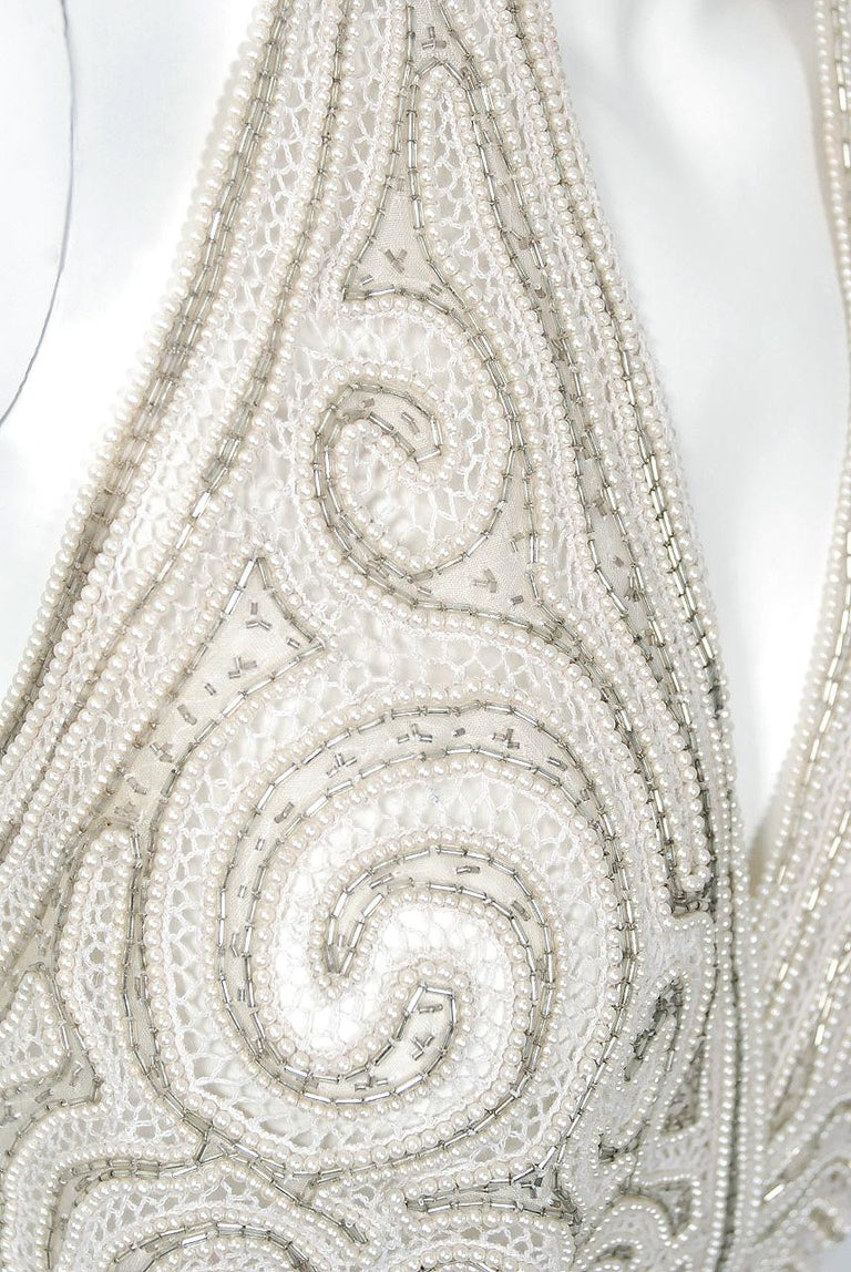1975 Halston Couture Ivory Pearl Beaded Swirl Silk Halter Backless Wrap Gown For Sale 2
