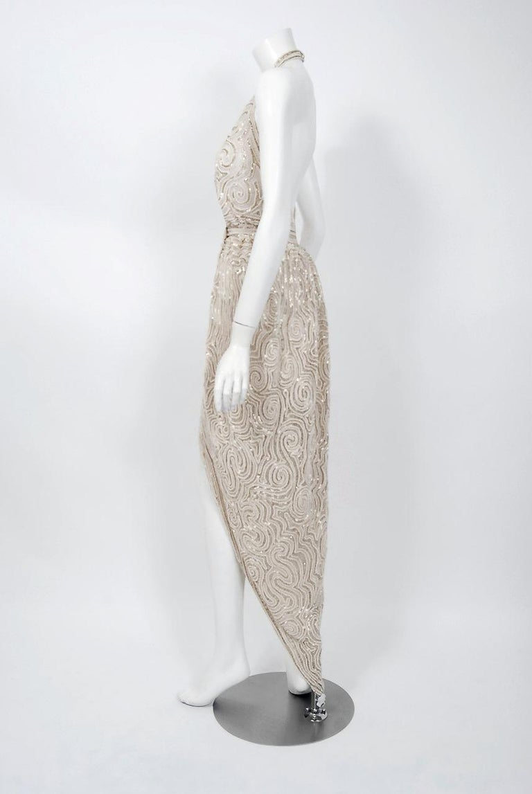 1975 Halston Couture Ivory Pearl Beaded Swirl Silk Halter Backless Wrap Gown For Sale 4
