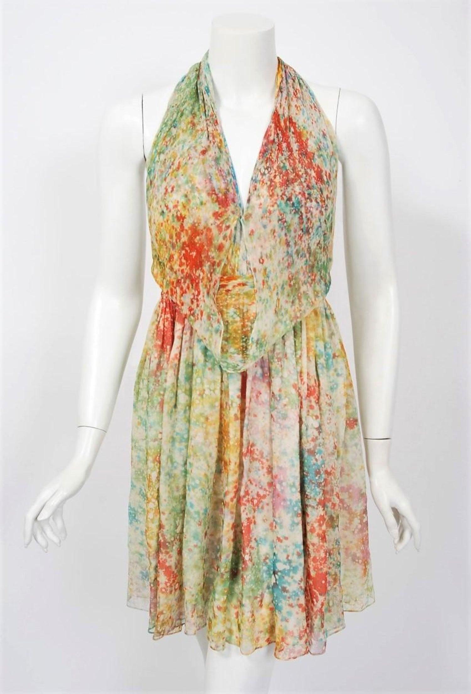 1db0fec3e9 1975 Halston Couture Watercolor Print Silk Backless Draped Halter Mini Dress  For Sale at 1stdibs
