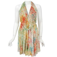 1972 Halston Couture Watercolor Print Silk Backless Draped Halter Mini Dress