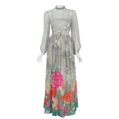 1975 Hanae Mori Couture Grey Floral Silk Chiffon Billow Sleeve Illusion Gown