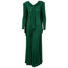 1975 Jean Muir Forest-Green Jersey Scarf-Tie Buckles Winged Back Maxi Dress