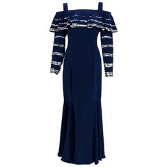1975 Karl Lagerfeld for Chloe Sequin Navy Blue Silk Off-Shoulder Ruffle Dress