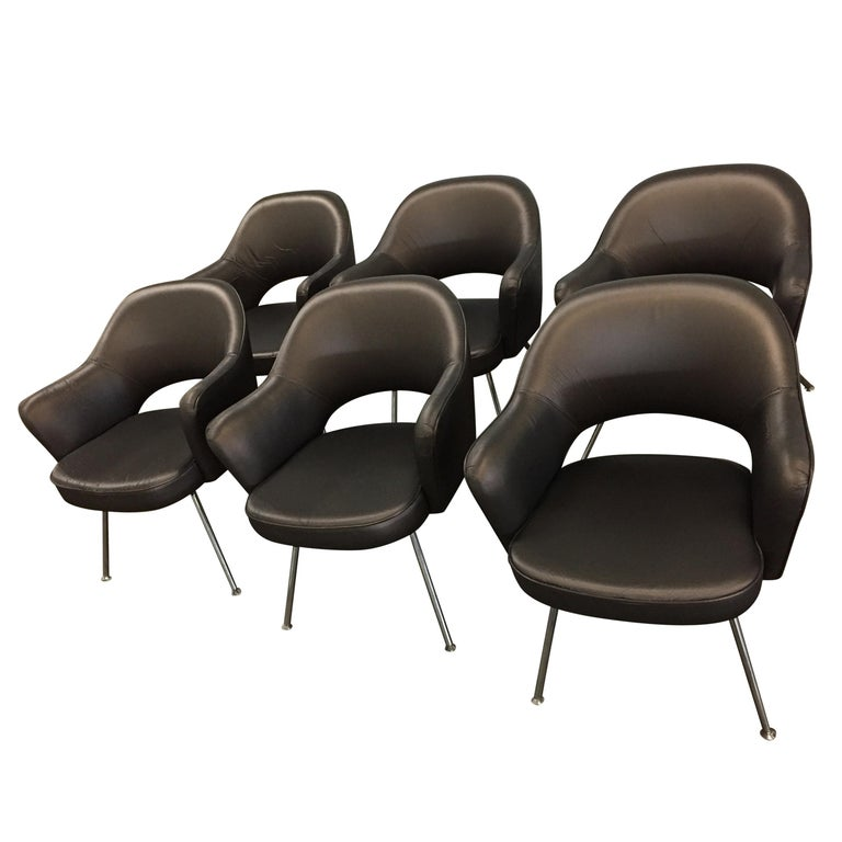 1975 Knoll Saarinen Executive Dining or Office Chairs/ Set of 6 For Sale