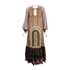 1975 Koos Van Den Akker Patchwork Cotton Silk Billow-Sleeve Bohemian Maxi Dress
