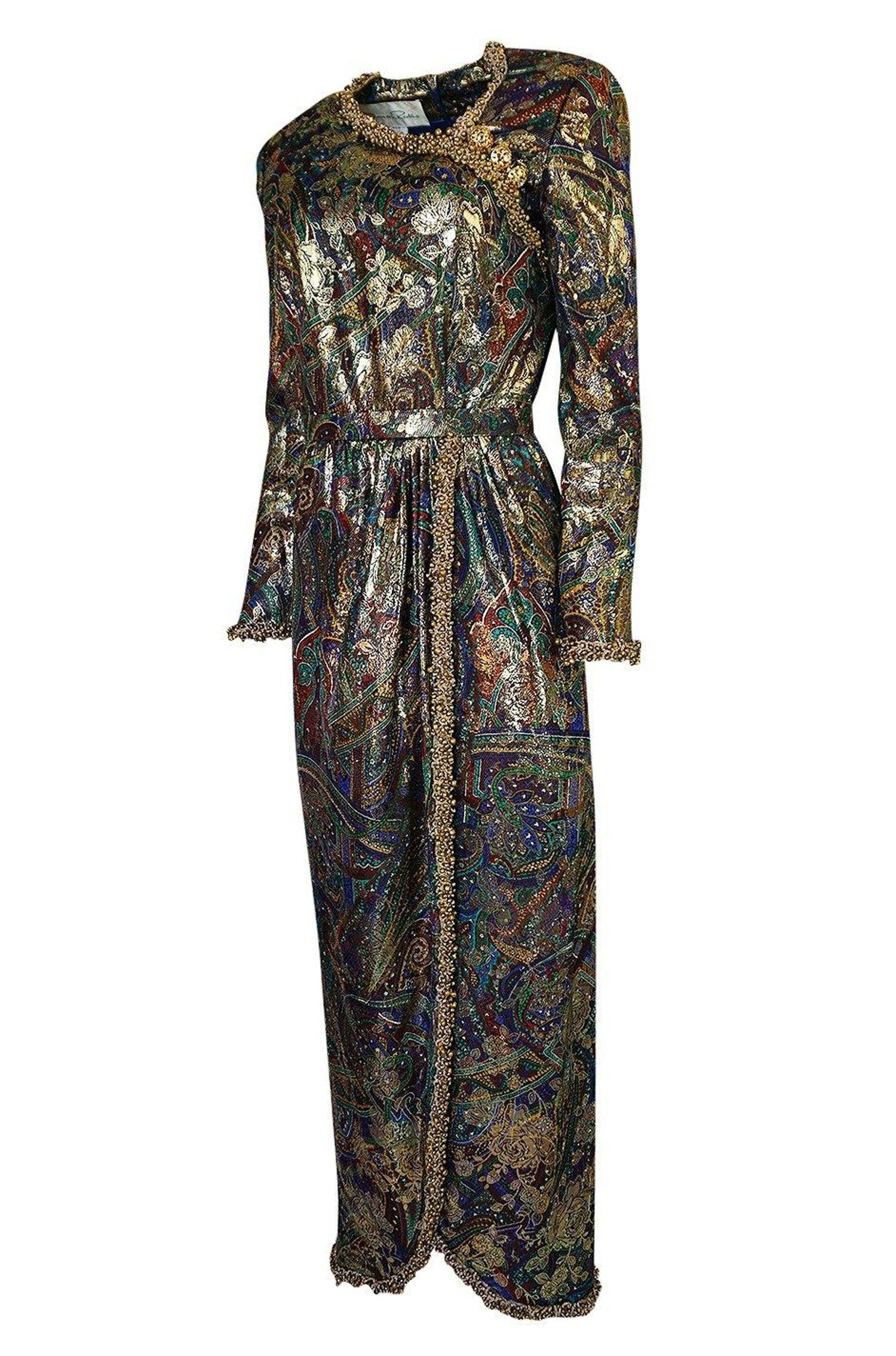 1975 Oscar de la Renta Printed Metallic Silk Dress w Brass Bell Edging
