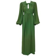 1975 Ossie Clark Green Moss-Crepe Billow Sleeve Tie Collar Belted Dress Gown