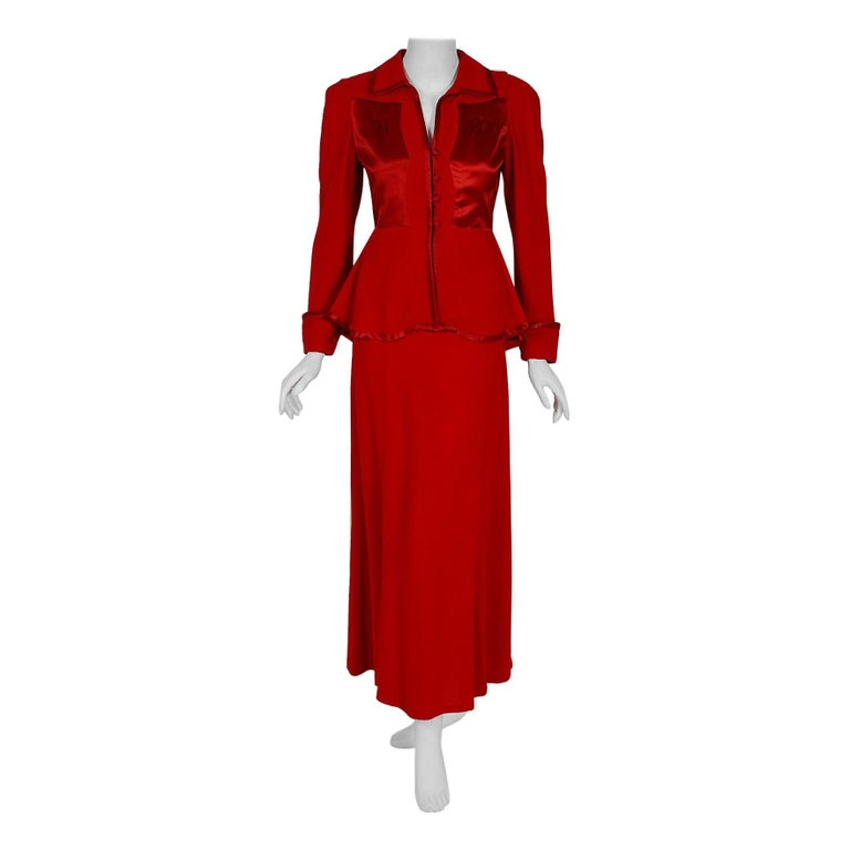 1975 Ossie Clark Red Moss-Crepe and Satin Deco Peplum Jacket wth Maxi Skirt For Sale