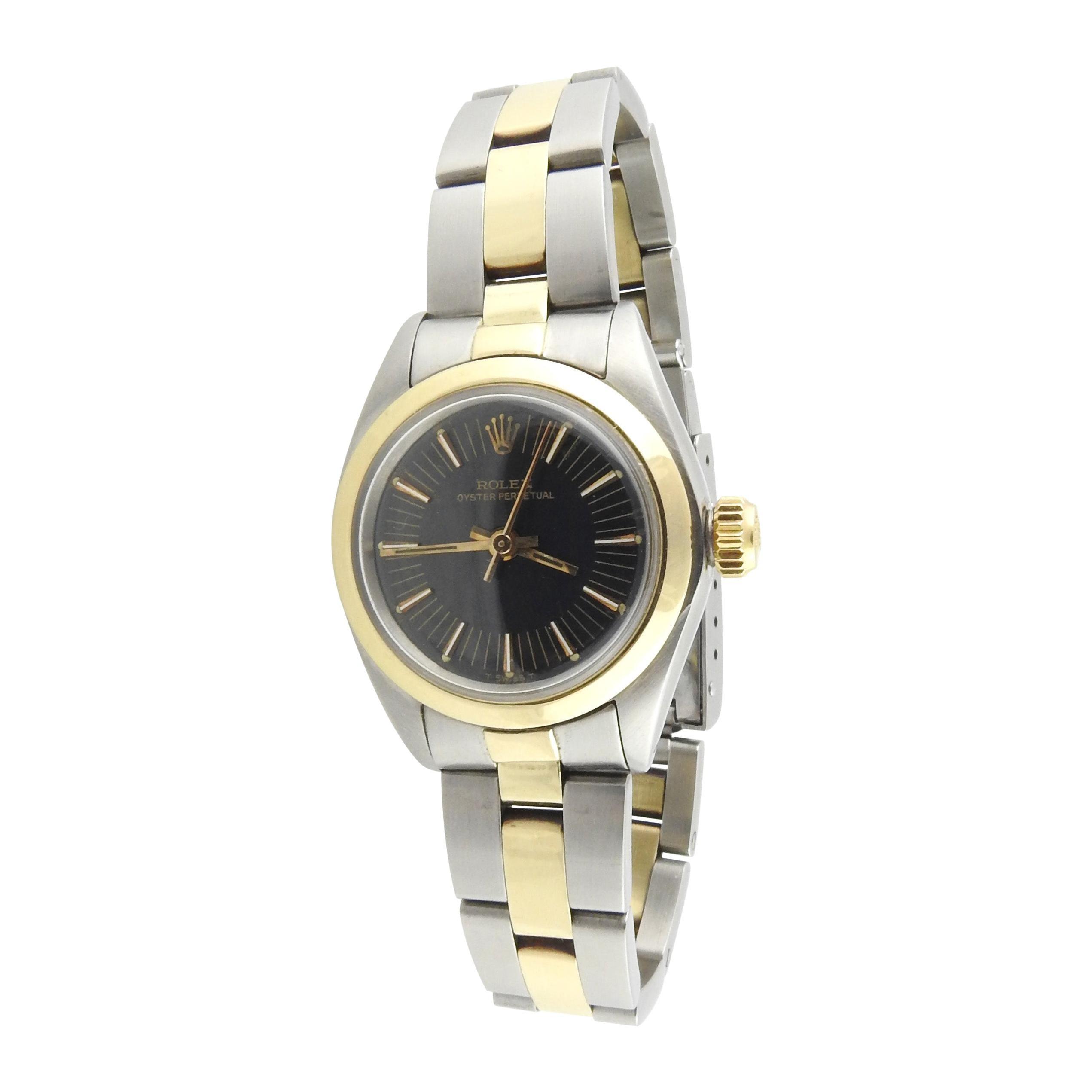 1975 Rolex Ladies 14k Yellow Gold Steel Watch Black Dial 6723
