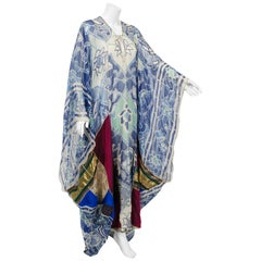 1975 Thea Porter Couture Documented Bohemian Patchwork Silk Abaya Caftan Dress