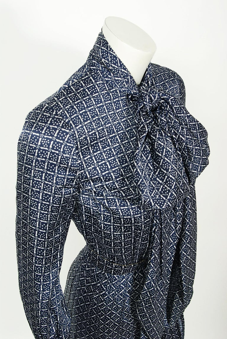 Black 1975 Valentino Couture Navy & White Print Silk Ascot-Bow Belted Pleated Dress For Sale