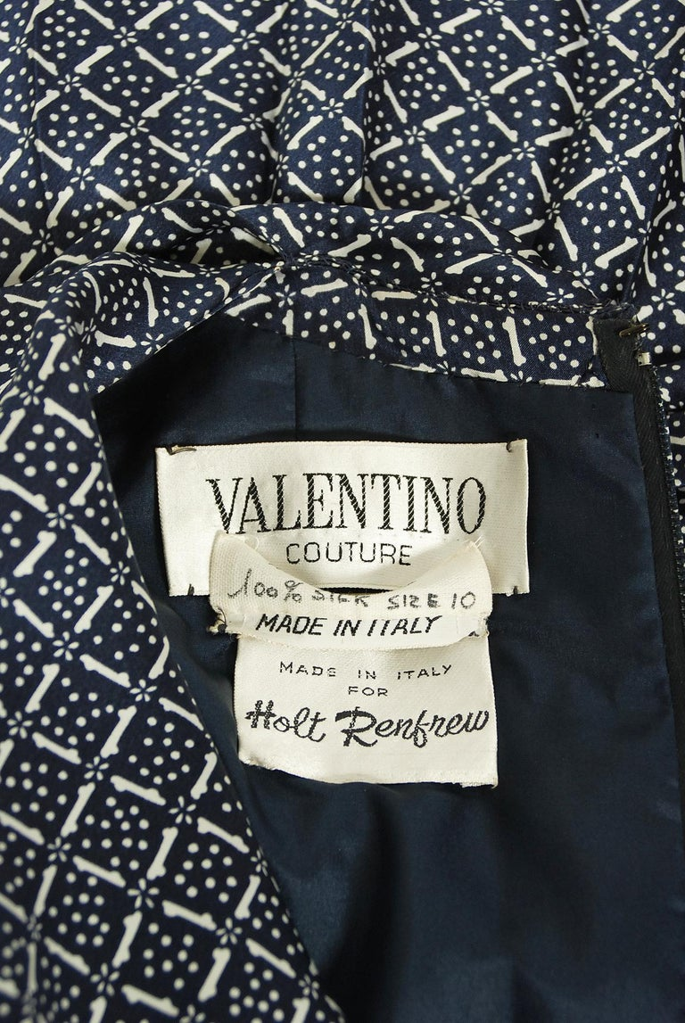 1975 Valentino Couture Navy & White Print Silk Ascot-Bow Belted Pleated Dress For Sale 4