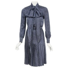 1975 Valentino Couture Navy & White Print Silk Ascot-Bow Belted Pleated Dress