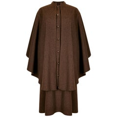 1975 Yves Saint Laurent Brown Wool Felt Overcoat With Cape