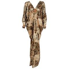 1975 Yves Saint Laurent Haute-Couture Documented Metallic Print Lamé Caftan Gown