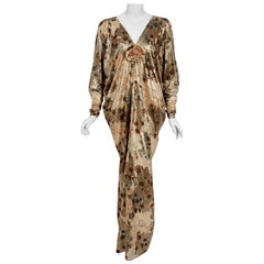 1975 Yves Saint Laurent Haute-Couture Documented Metallic Print Lamé Caftan Gown