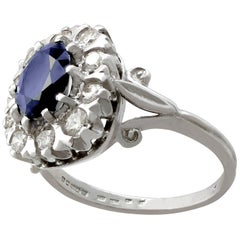 1976 2.85 Carat Sapphire and Diamond White Gold Cocktail Ring