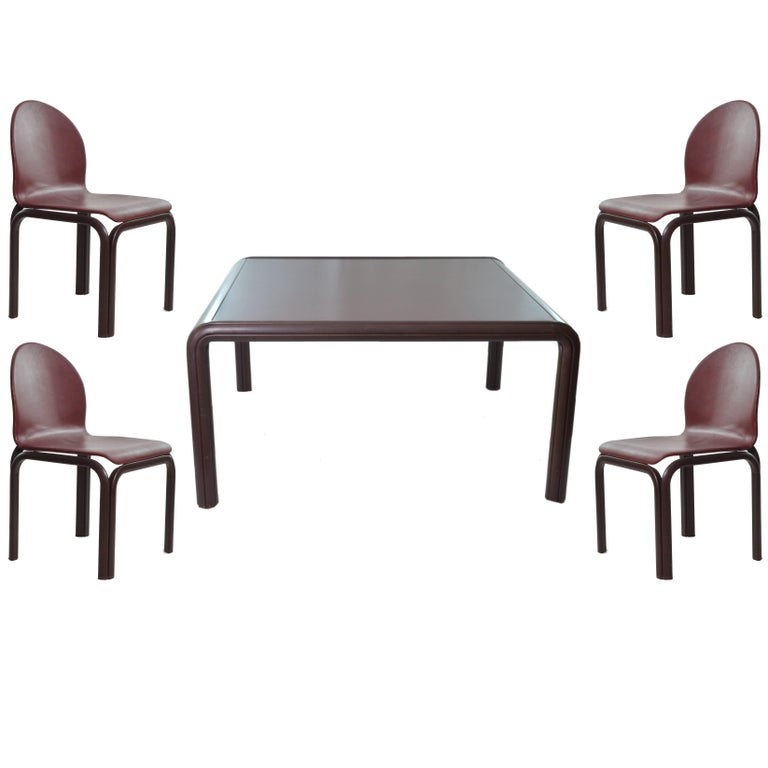 1976 Aluminium Table and four Chairs by Gae Aulenti for Knoll