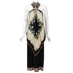 1976 Bill Gibb Documented Floral Silk Beaded Halter Pleated Backless Dress