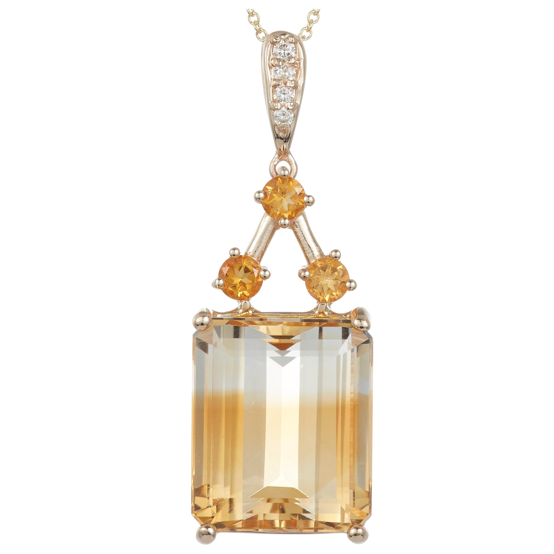19.76 Carat Emerald Cut Bicolor Citrine Diamond Pendant in 14 Karat Yellow Gold