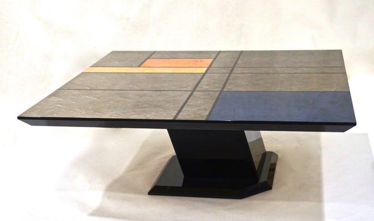 1976 Cattaneo Italian Black Lacquered Silver Grey Mondrian Decor Coffee Table For Sale 3