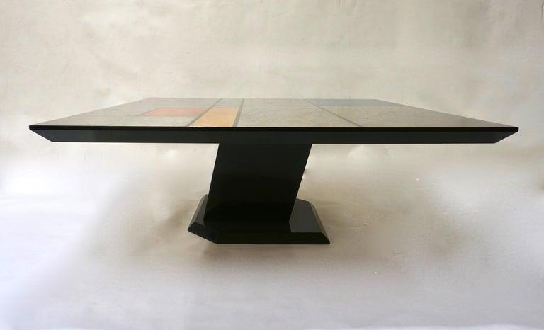 Mid-Century Modern 1976 Cattaneo Italian Black Lacquered Silver Grey Mondrian Decor Coffee Table For Sale