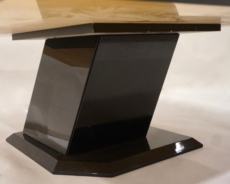 1976 Cattaneo Italian Black Lacquered Silver Grey Mondrian Decor Coffee Table In Good Condition For Sale In New York, NY