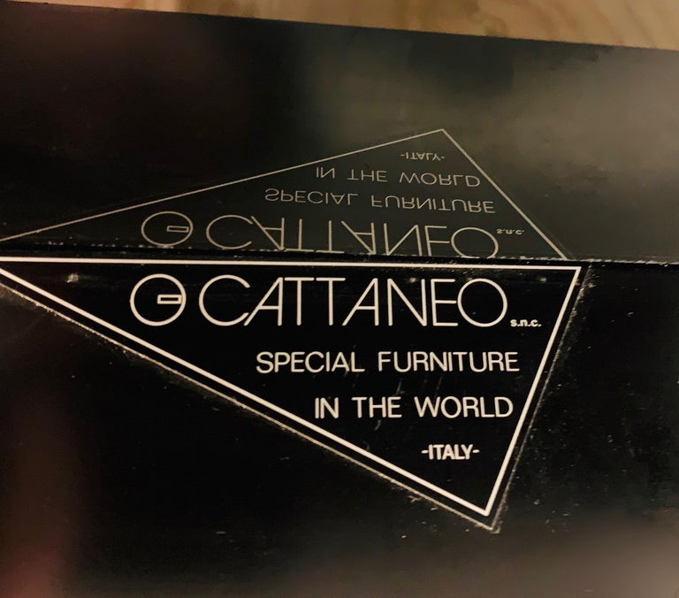 Wood 1976 Cattaneo Italian Black Lacquered Silver Grey Mondrian Decor Coffee Table For Sale