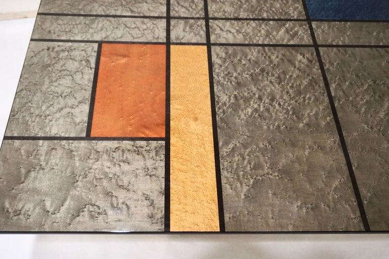 1976 Cattaneo Italian Black Lacquered Silver Grey Mondrian Decor Coffee Table For Sale 2