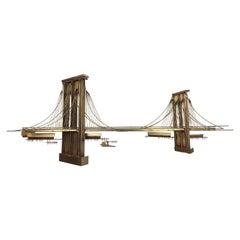 1976 Curtis Jere Brooklyn Bridge Brass Wall Sculpture